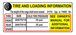 tire and loading placard label  for trailers