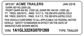 VIN label for trailer